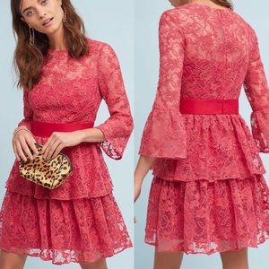 Ml Monique lhullier rose dress floral ruffle NWT